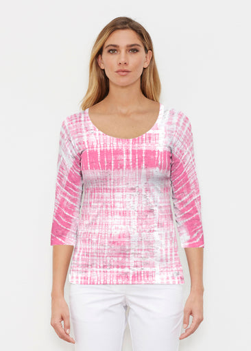 Pink Tie Dye (14254) ~ Signature 3/4 Sleeve Scoop Shirt