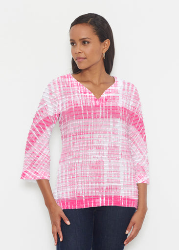 Pink Tie Dye (14254) ~ Banded 3/4 Bell-Sleeve V-Neck Tunic