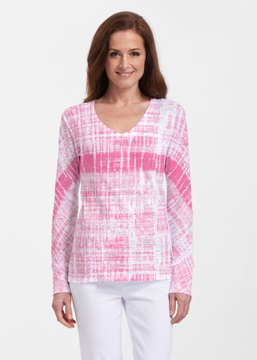 Pink Tie Dye (14254) ~ Thermal Long Sleeve V-Neck Shirt