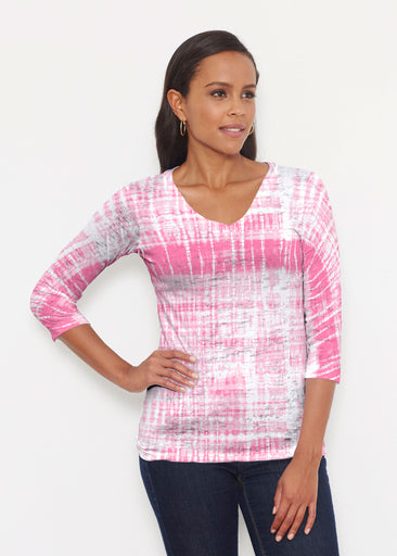 Pink Tie Dye (14254) ~ Signature 3/4 V-Neck Shirt