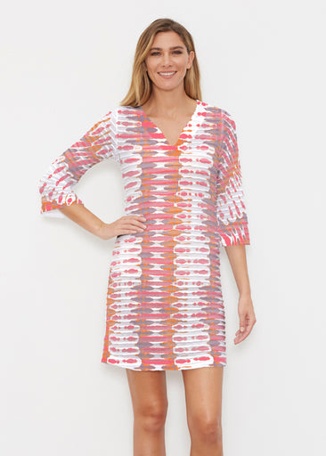 Ink Blot Pink (14255) ~ Banded 3/4 Sleeve Cover-up Dress