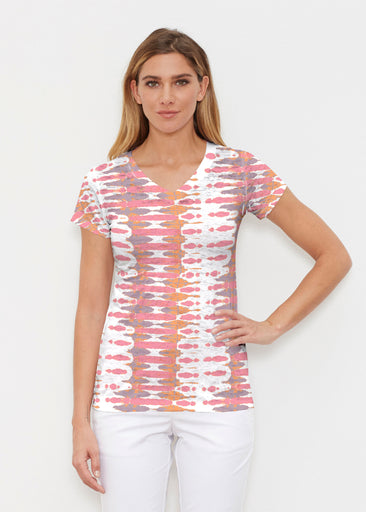 Ink Blot Pink (14255) ~ Signature Cap Sleeve V-Neck Shirt
