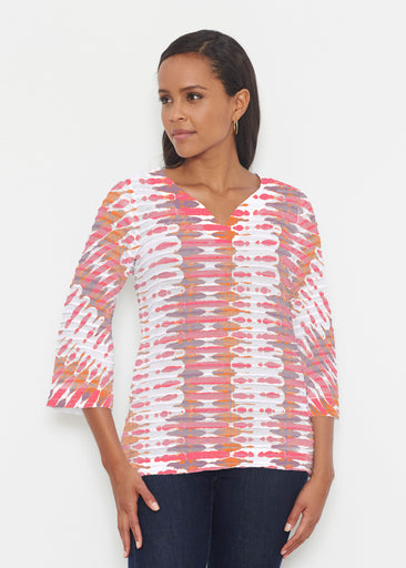 Ink Blot Pink (14255) ~ Banded 3/4 Bell-Sleeve V-Neck Tunic