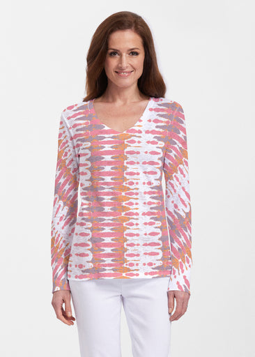 Ink Blot Pink (14255) ~ Thermal Long Sleeve V-Neck Shirt