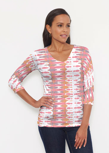 Ink Blot Pink (14255) ~ Signature 3/4 V-Neck Shirt