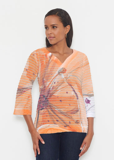 Tiger Lily (15021) ~ Banded 3/4 Bell-Sleeve V-Neck Tunic
