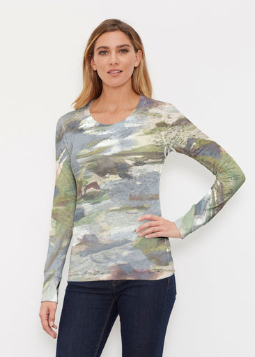 Landscape Green (15033) ~ Thermal Long Sleeve Crew Shirt