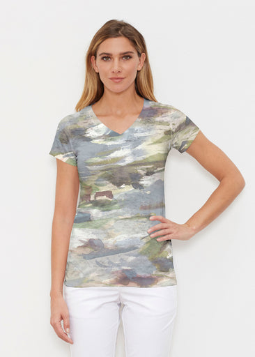 Landscape Green (15033) ~ Signature Cap Sleeve V-Neck Shirt