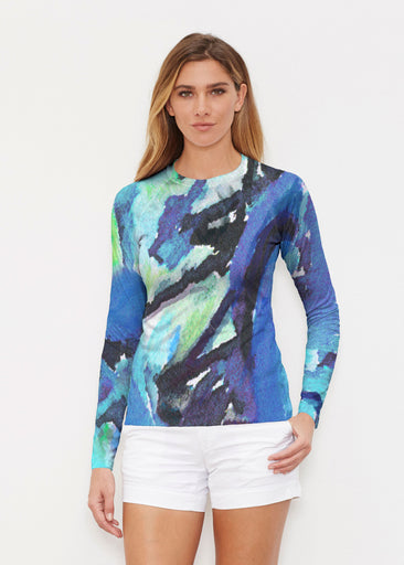 Abstract Blue (15035) ~ Long Sleeve Rash Guard