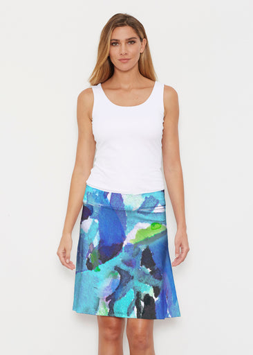 Abstract Blue (15035) ~ Silky Brenda Skirt 21 inch