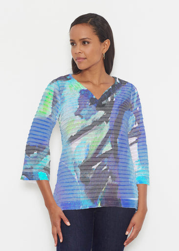Abstract Blue (15035) ~ Banded 3/4 Bell-Sleeve V-Neck Tunic