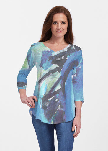 Abstract Blue (15035) ~ V-neck Flowy Tunic
