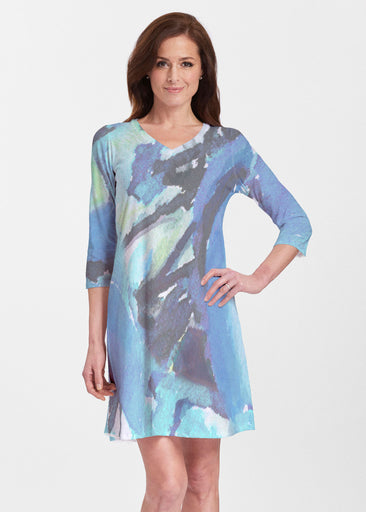 Abstract Blue (15035) ~ V-neck Swing Dress
