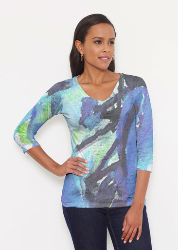 Abstract Blue (15035) ~ Signature 3/4 V-Neck Shirt