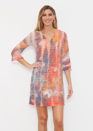 Tiki Orange (15039) ~ Banded 3/4 Sleeve Cover-up Dress