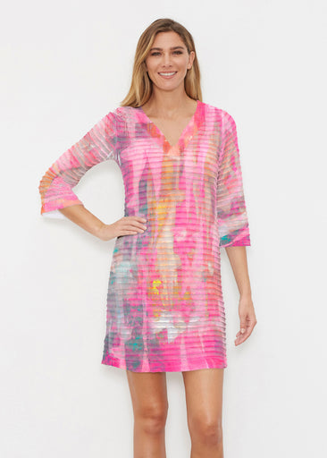 Tiki Pink (15040) ~ Banded 3/4 Sleeve Cover-up Dress