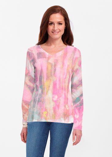 Tiki Pink (15040) ~ Classic V-neck Long Sleeve Top