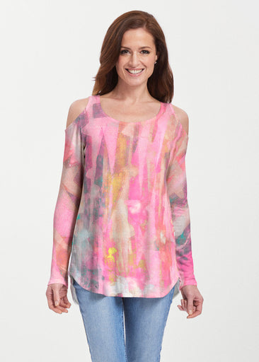 Tiki Pink (15040) ~ Butterknit Cold Shoulder Tunic