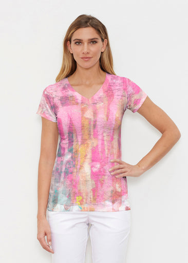 Tiki Pink (15040) ~ Signature Cap Sleeve V-Neck Shirt