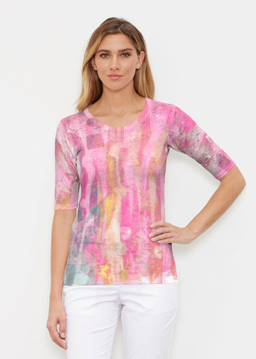 Tiki Pink (15040) ~ Elbow Sleeve Crew Shirt