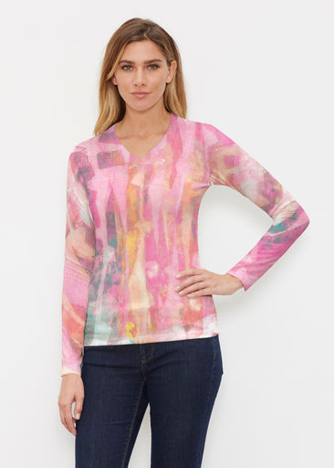 Tiki Pink (15040) ~ Butterknit Long Sleeve V-Neck Top