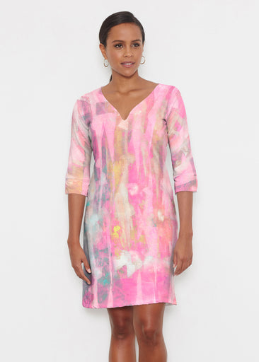 Tiki Pink (15040) ~ Classic 3/4 Sleeve Sweet Heart V-Neck Dress
