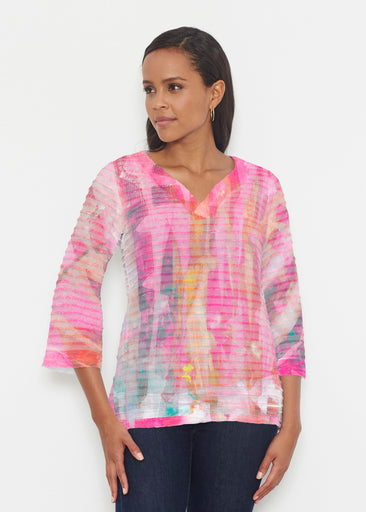 Tiki Pink (15040) ~ Banded 3/4 Bell-Sleeve V-Neck Tunic