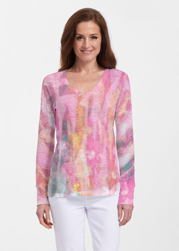 Tiki Pink (15040) ~ Thermal Long Sleeve V-Neck Shirt