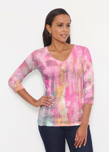 Tiki Pink (15040) ~ Signature 3/4 V-Neck Shirt