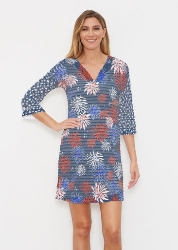 Red Glare Navy (16138) ~ Banded 3/4 Sleeve Cover-up Dress