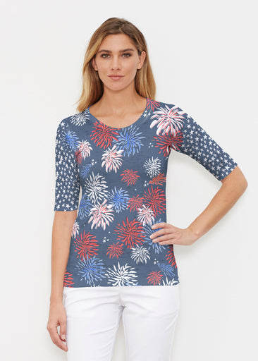 Red Glare Navy (16138) ~ Elbow Sleeve Crew Shirt