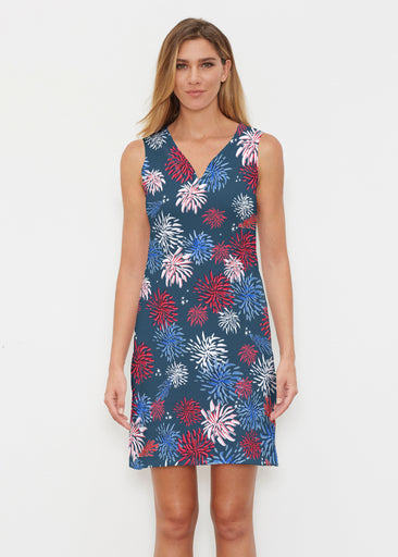 Red Glare Navy (16138) ~ Vivid Sleeveless Dress