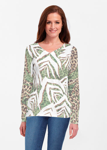Lush Jaguar (16151) ~ Classic V-neck Long Sleeve Top