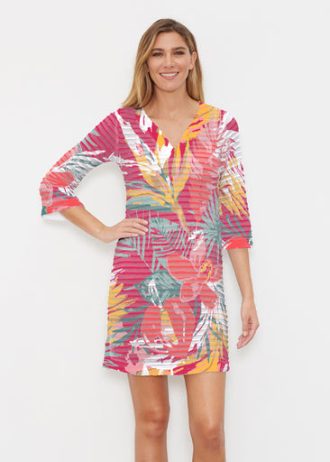 Havana (16152) ~ Banded 3/4 Sleeve Cover-up Dress