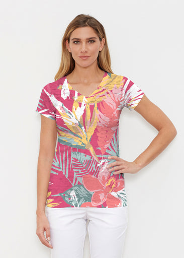 Havana (16152) ~ Signature Cap Sleeve V-Neck Shirt