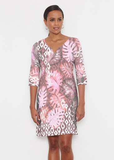 Ikat Palms (16153) ~ Classic 3/4 Sleeve Sweet Heart V-Neck Dress