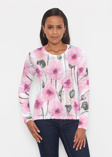 Pink Poppies (16157) ~ Signature Long Sleeve Crew Shirt