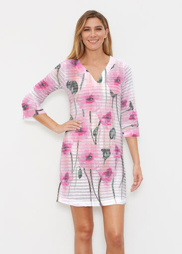 Pink Poppies (16157) ~ Banded 3/4 Sleeve Cover-up Dress