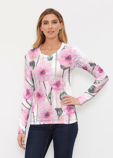 Pink Poppies (16157) ~ Thermal Long Sleeve Crew Shirt
