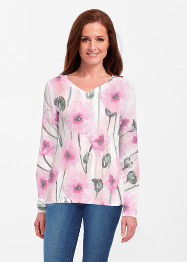 Pink Poppies (16157) ~ Classic V-neck Long Sleeve Top