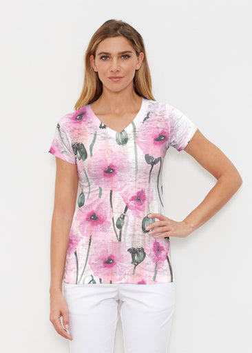 Pink Poppies (16157) ~ Signature Cap Sleeve V-Neck Shirt