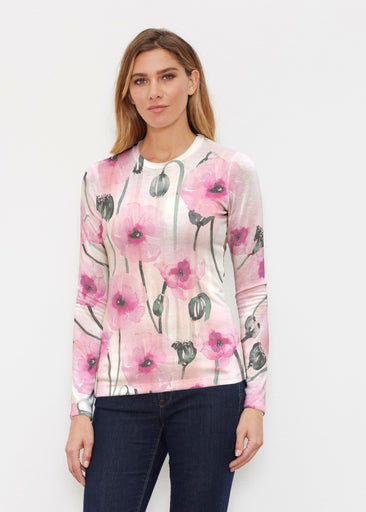 Pink Poppies (16157) ~ Butterknit Long Sleeve Crew Top
