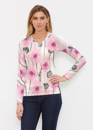 Pink Poppies (16157) ~ Butterknit Long Sleeve V-Neck Top
