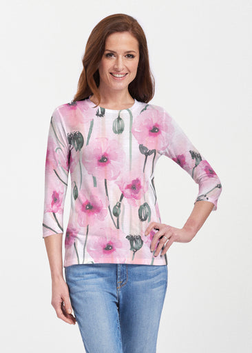 Pink Poppies (16157) ~ 3/4 Sleeve Crew