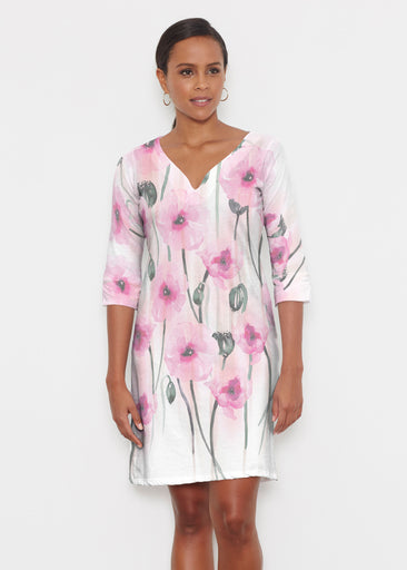 Pink Poppies (16157) ~ Classic 3/4 Sleeve Sweet Heart V-Neck Dress