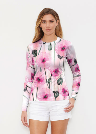 Pink Poppies (16157) ~ Long Sleeve Rash Guard