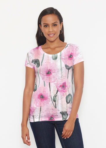 Pink Poppies (16157) ~ Short Sleeve Scoop Shirt
