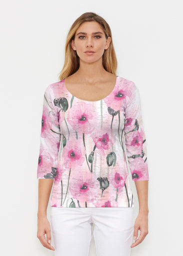 Pink Poppies (16157) ~ Signature 3/4 Sleeve Scoop Shirt