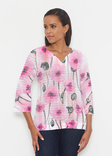 Pink Poppies (16157) ~ Banded 3/4 Bell-Sleeve V-Neck Tunic