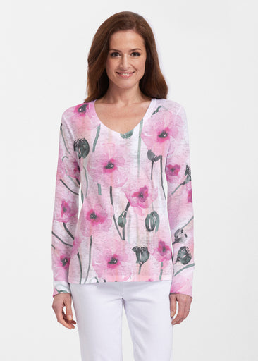 Pink Poppies (16157) ~ Thermal Long Sleeve V-Neck Shirt